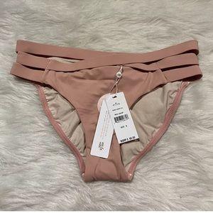 Pilyq Rose Strappy Ruched Back Bikini Bottom